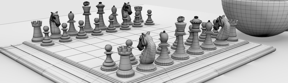 Blender wireframe rendering of the chessboard